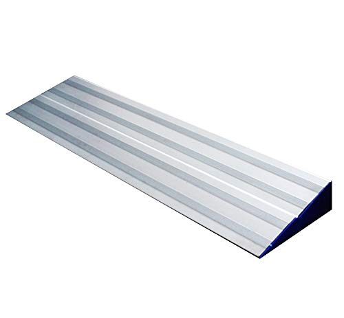 JLXJ Rampas 2 Paquetes Rampas para Sillas de Ruedas para Umbral de Transición, Paso, Puertas, Aluminio Plateado Rampa Extraíble Ajustable Alta