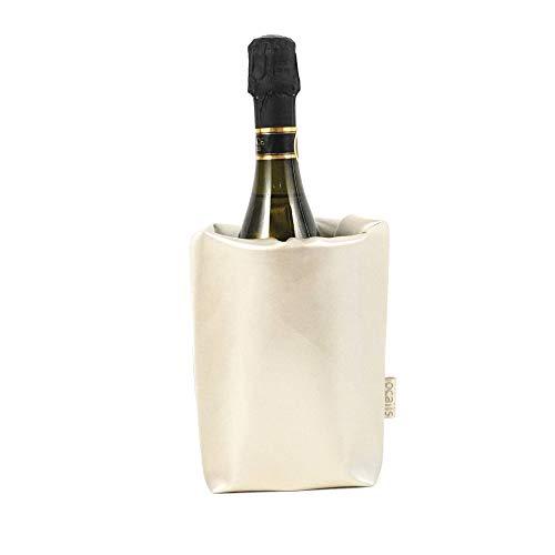 LOCALIS - Glacette per bottiglie in similpelle, 2 mattonelle di raffreddamento integrate, 11 x 11 cm, made in Italy