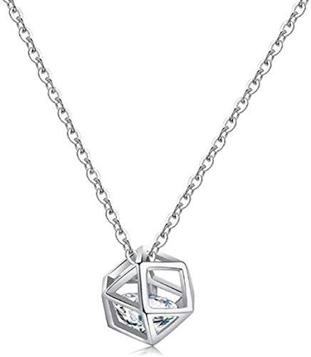 Temperament Cutout Flash Diamond Rubik s Cube Clavícula Cadena 925 Collar de polígono geométrico de Plata esterlina