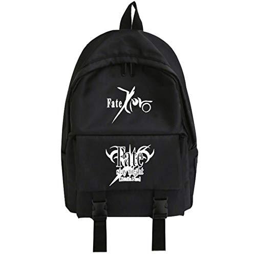 WANHONGYUE Fate Zero Fate Stay Night Unisexo Estudiantes Anime Bolsa para la Escuela Mochila Tipo Casual Backpack Negro /1