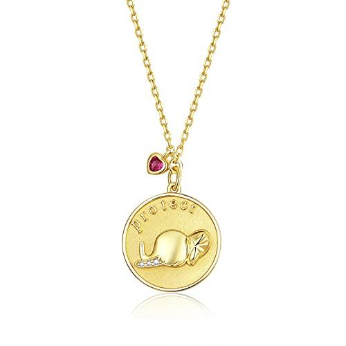 HMMJ Collar De Mujer S925 Plata Hipoalergénico Chapado En Oro Real Elefante En Relieve BSN173