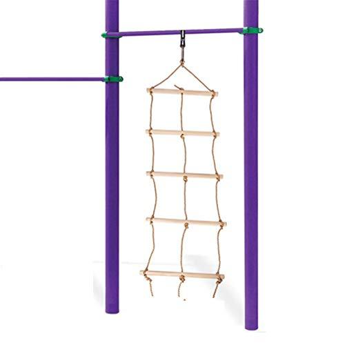NT Verstellbar 5 Feilen 3 Seil Kinderkletterleiter, hochwertiges Holzmaterial, Oberfläche ist glatt, Einstellbarer Abstand, stabil und sicher, einfach zu bedienen