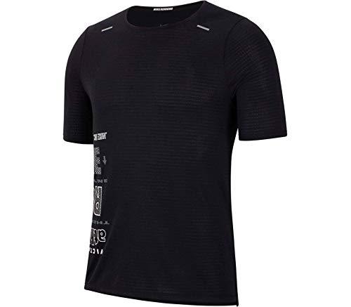NIKE M Nk Wild Run Rise 365 Top SS Short Sleeve, Hombre, Black/White/Dark Grey/Reflective silv, S