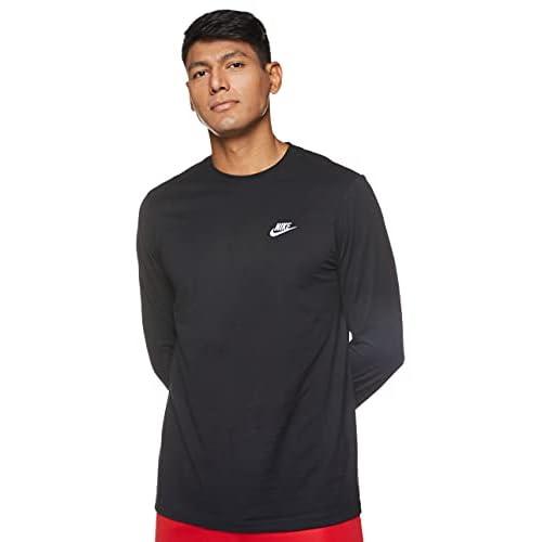 Nike M NSW Club Tee-LS, Maglietta a Maniche Lunghe Uomo, Nero (Black/White 010), M