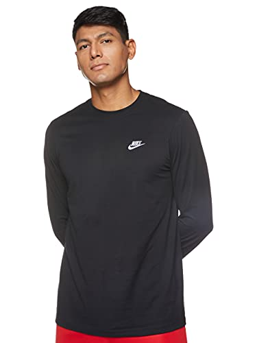 Nike M NSW Club Tee - Ls T-Shirt à Manches Longues Homme Black/(White) FR: M (Taille Fabricant: M)