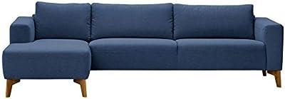 Three+ Blue Oak Wood 3 Seater L-Shaped Sofa Set for Living Room