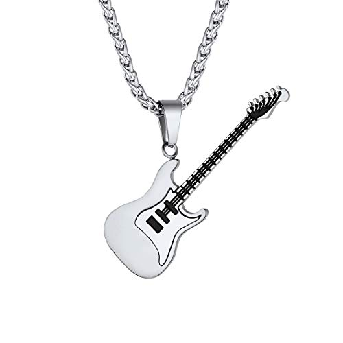 Suplight Silver Electric Guitar Charm for Men Women Rock Punk Music Jewelry Stainless Steel Custom Engrave Guitar Bass Pendant Necklace