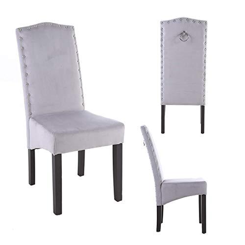 PS Global - Juego de 2 sillas de Comedor Knockerback de Terciopelo de Calidad (Gris Claro)