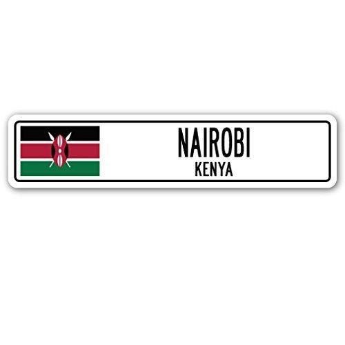 Funny Deko Schilder Nairobi, Kenia, Straßenschild kenianische Flagge City Country Road Wand Geschenk Metall Aluminium Zeichen für Garagen, Wohnzimmer