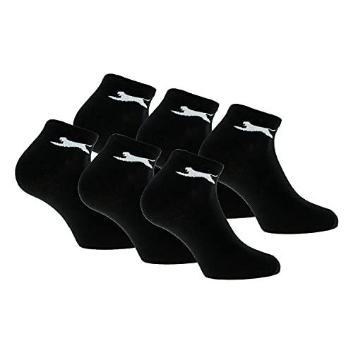 Slazenger 6 par sneakerstrumpor fotledshöjd, bomull av utmärkt kvalitet (Svart, 43-46)