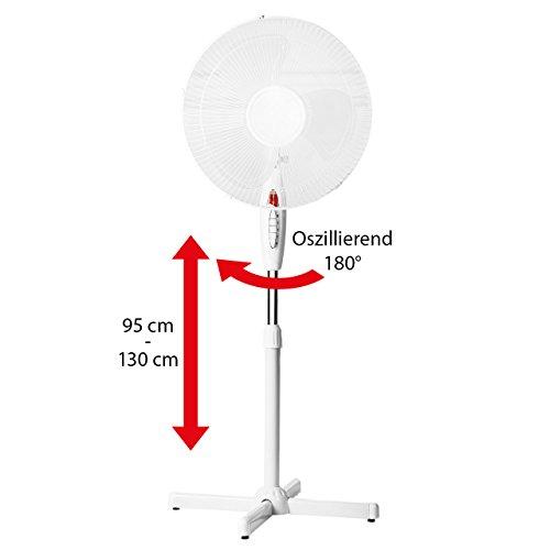 Lex Standventilator Ø 40cm - weiß Höhenverstellbar bis 130cm Oszillierend Nachtlicht Großer Standlüfter, Stehventilator Leiser Schwenk-Ventilator 40 Watt | Stand-Gebläse für Büro & Schlafzimmer