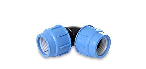 PP Arc 16, 20, 25mm Tube en polyéthylène 16bar connecteur Raccord Angle d'irrigation DVGW 25 mm x 25 mm
