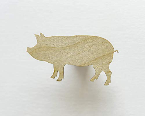 Unfinished wood shapes - Pig shape  Pig cut out  Wooden shapes  Farm animal cutouts