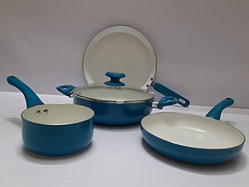 """Ceramic cookware Set - 8"""" Sauce pan,11"""" Fry pan,12"""" kadai and 12"""" tawa"""