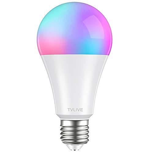 Bombilla LED Inteligente WiFi, TVLIVE 10W Bombilla LED Luces Cálidas/Frías & RGB, Lámpara WiFi Funciona con Alexa (Echo, Echo Dot) Google Home IFTTT, 16 Millones de Colores, E27 10W, 800 Lúmenes