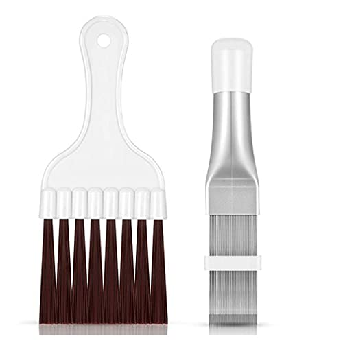 SeniorMar-UK Cepillo de Limpieza de Condensador de Aire Acondicionado portátil Ligero para radiador Buen Efecto Mano de Obra Fina Cepillo de Peine de Aleta metálica marrón Blanco Plateado