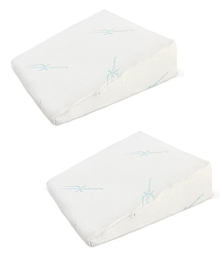 """Xtreme Comforts 7"""" Memory Foam Bed Wedge Pillow, Hypoallergenic Breathable, Washable Bamboo Cover, Elevated Support Cushion, Acid Reflux, Lower Back Pain, Heartburn, Snoring (2 Pack)"""