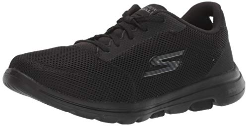 Skechers Women's GO Walk 5-Lucky Sneaker, Black, 12 M US