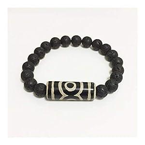 ZAOPP Retro Natürliche tibetische Dzi Armbänder Vintage-Schmuck-Gebet Charm Black Lava Armbänder Männer Zubehör (Metal Color : Drum Black)