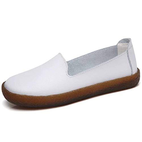 Mocasines de Mujer de Estilo Simple Color sólido Daily Drive Flats de Talla Grande Zapatos Casuales Moda Slip On Mocasines de Cuero Zapatos