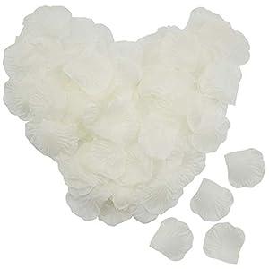 Lawei – Pétalos de Rosa de Seda Artificiales, 4000 Unidades, pétalos de Rosa para Bodas, Fiestas, hogar, Hotel, decoración del día de San Valentín, Color Marfil