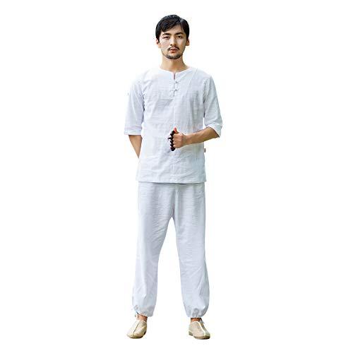 KSUA Traje de Tai Chi para Hombre Traje de Yoga de Lino Traje de meditación Tradicional Chino con Mangas de Tres Cuartos para Kung Fu Artes Marciales Wing Chun, Blanco EU L/Etiqueta XL
