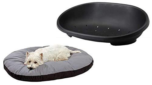 Cajou Kunststoffbett mit Passendem Hundekissen Bezug abnehmbar und Kochfest Hygienebett medizinische Hygiene und antiallergisch (60 x 42 x 20 cm, schwarz/grau)