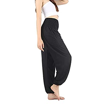 Boho Pants Harem Pants Yoga Trousers for Woman Bohemian Beach Pants  Solid Black Medium