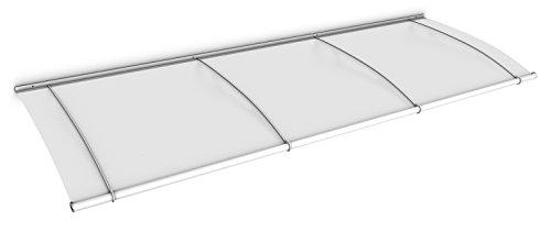 Schulte Vordach 270x95 cm Haustür Überdachung Stahl weiß rostfrei Acrylglas durchgehend und milchig Pultvordach LT-Line