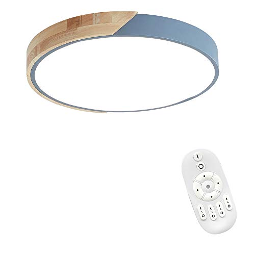 48W LED Deckenleuchte Holz Bunte mit Fernbedienung - Runde Deckenlampe Ultra-dünne 5cm für Schlafzimmer Wohnzimmer Kinderzimmer, Dimmbar