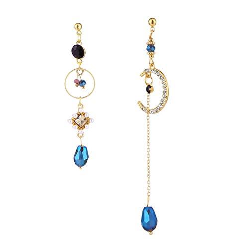 FSXZM Femmes Bleu asymétrique Lune Brillant Strass Perles Pendentif Gland Boucles d'oreilles Adolescentes bohême élégant Boucles d'oreilles Bijoux Cadeau