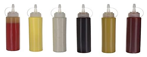 Paquete de 6 botellas de condimento de plástico de 350 ml con tapas de tapa giratoria, dispensadores superiores para salsa de tomate, mostaza, mayo, aceite de oliva – Juego de barbacoa libre de bpa
