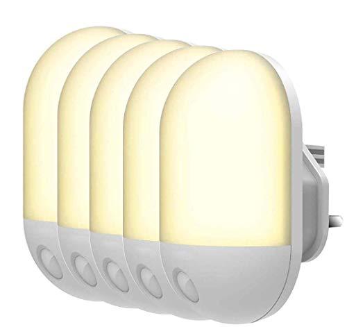 Led-nachtlampje, nachtlampje voor het aansluiten van muren met sensor voor fotocel bij ochtendschemering, energiebesparend, 0,5 W, witte stekker en warmwit voor nachtlampje voor kinderen, C