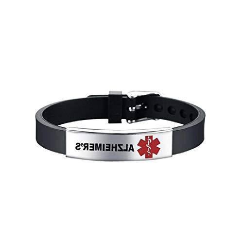 Red Medical - Pulsera de identificación de alerta médica de emergencia de primeros auxilios de silicona unisex con encanto que hace kit