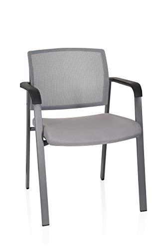 hjh OFFICE 738108 silla de confidente MEET malla/tela gris silla visitante con reposabrazos 4 pies apilable