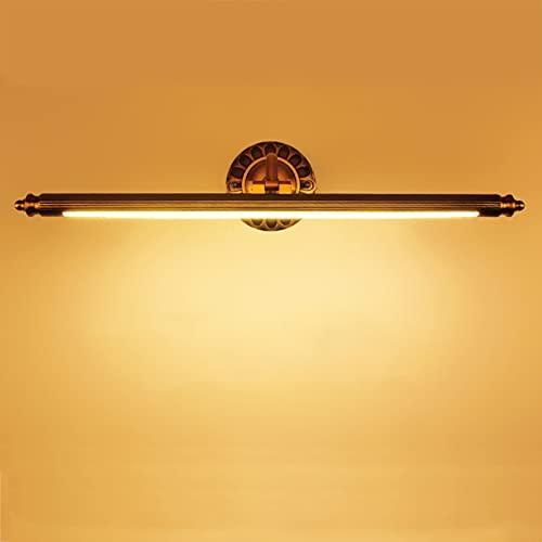 QEGY LED Lámpara de Espejo Baño Bronce Rojo, Rustico Aplique Espejo Baño con Cabeza de Lámpara Giratoria, Impermeable IP44 Lámpara de Maquillaje Vintage Luz de Gabinete Blanca Cálida,50cm8w