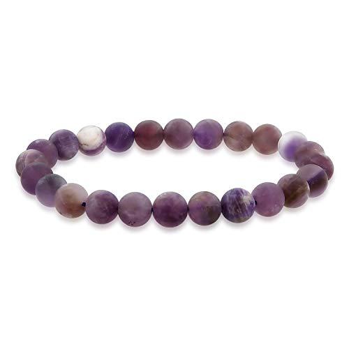 Bling Jewelry Tonos Mate de púrpura Tan Salvia Amatista ágata Redonda Bola de Cuentas 8MM apilamiento Pulsera de Estiramiento para Mujeres Hombres Adolescente Unisex