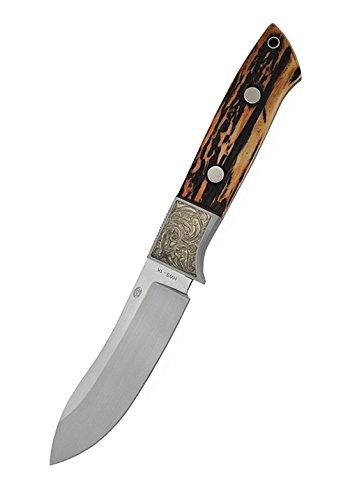 Caribou Messer mit Nessmuk-Klinge und Hirschhorngriff Jagdmesser mit Messer Etui Lederetui Angelmesser Survivalmesser