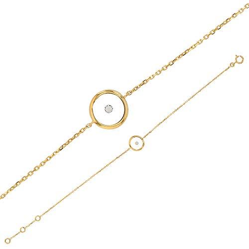 Jouailla Armband aus 9 Karat (375) Gold Gliederkette mit rund 9 mm Harzboden mit Diamant (0,035ct 398055)