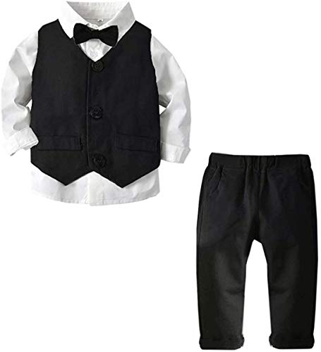 Baby Boy's Tuxedo Clothes, 3 Pieces Fall Winter Outfit, Long Sleeves Button Down Dress Shirt with Bow Tie + Vest + Pants Set Gentlemen Clothing, Black, Tag 90 = 18-24 Months