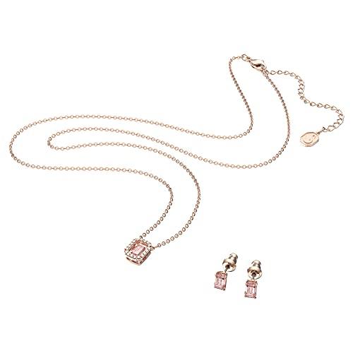 Swarovski Conjunto Millenia, Zirconia Swarovski de Talla Octogonal, Rosa, Baño Tono Oro Rosa