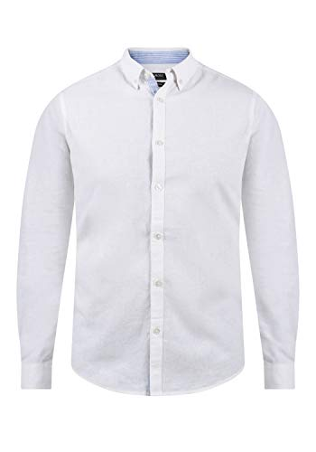 Indicode Luan Herren Leinenhemd Freizeithemd Hemd mit Button-Down-Kragen, Größe:XXL, Farbe:Off-White (002)