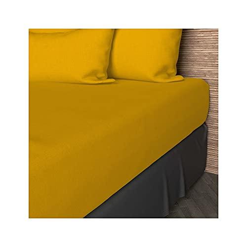 Sábana Bajera amarilla Lisa 90x190 cm de algodón