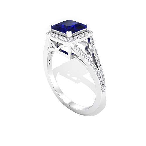 Rosec Jewels 18 quilates oro rosa talla princesa round-brilliant-shape H-I Blue Diamond Blue Sapphire