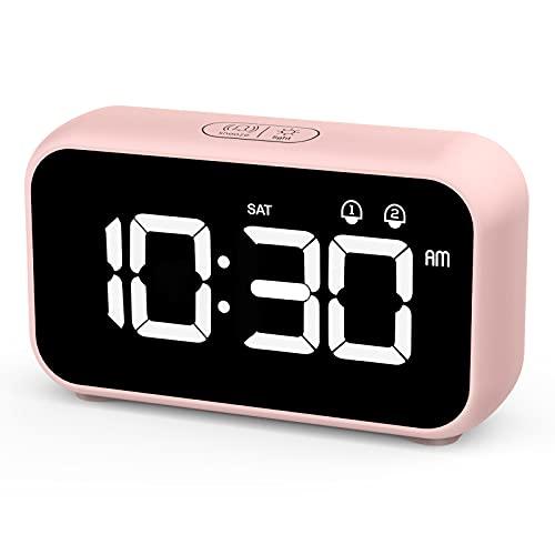 HOMVILLA Despertadores Digitales, Reloj Despertador Digital, Mini Reloj Digital Despertador, Alarma de Espejo Portátil, Alarma con Doble Tiempo de Repetición 4 Niveles de Brillo Regulable (Rosa)
