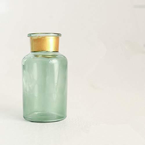 Florero de vidrio decoración de mesa florero florero seco florero botella de color americano, jarrón bronceador boca ancha, 4x12.5x6.5CM, para el hogar y la boda Decoración interior y exterior