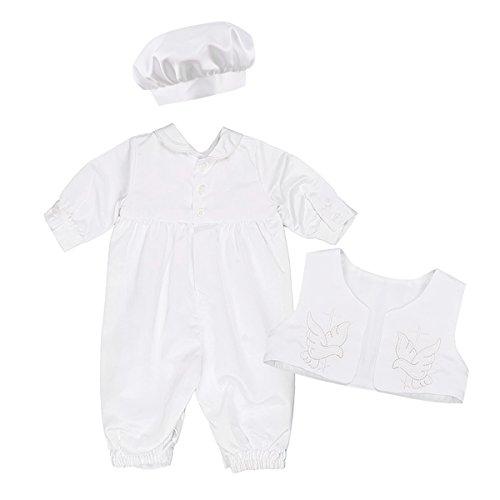 IEFIEL 3 pcs Ensemble Costume de Baptême pour Bébé Fille Garçon Bodysuit Manches Longues Romper Veste AVCE Bonnet Outfits Fête 3-18 Mois Ivoire 12-18 Mois