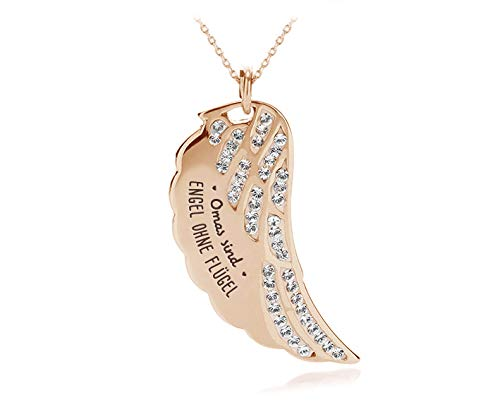 Silvity Damen Flügel-Halskette Edelstahl 50cm Gravur Farbe: Rosegold (Rose (Omas sind Engel o. f.))