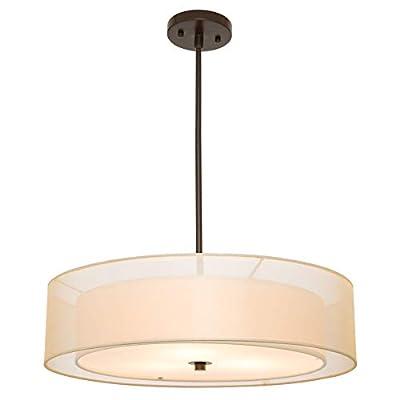 CO-Z 3 Light Double Drum Pendant Light, Convertible Semi-Flush Mount Drum Ceiling Light Fixture for Kitchen Island Dining Table Bedroom Entry Bar, Modern Hanging Lights Chandelier