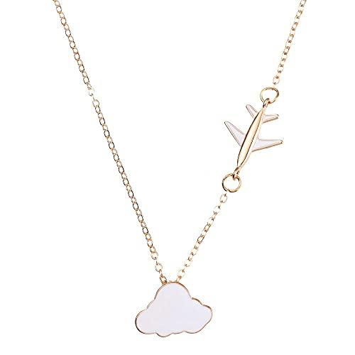 Joyería Regalo Mujeres/Niña Moda Exquisita Hecho a Mano Colgantes Collares Cadena Clavícula Creativa Nube Corta Collar Avión